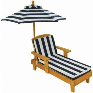 Houten kinder ligstoel -Chaise Longue- met kussen en parasol - Kidkraft (00105)